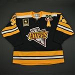 Spence, Jason * <br>Black - w/A,  Chiefs 20 Seasons Patch and ECHL 20 Year Patches<br>Johnstown Chiefs 2007-08<br>#32 Size: 58