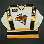 Callahan, Greg * <br>White - w/ Chiefs 10th Anniversary and ECHL 10th Anniversary patches<br>Johnstown Chiefs 1997-98<br>#22 Size: 54