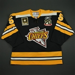 Saunders, Nathan * <br>Black - w/ Chiefs 20 Seasons Patch and ECHL 20 Year Patches<br>Johnstown Chiefs 2007-08<br>#6 Size: 56