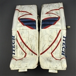 Valiquette, Steve<br>Itech Prodigy White Goalie Pads<br>Hartford Wolf Pack 2003-05<br>#40