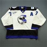 Wilson, Steve * <br>White w/A, ECHL 10th Anniversary Patch<br>Chesapeake Ice Breakers 1997-98<br>#7 Size: 56
