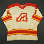 NOBR * <br>White w/ TV nameplate removed<br>Atlanta Flames 1975-77<br>#21 Size: 50
