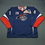 Betts, Kaleb<br>Navy Set 1 w/A<br>Elmira Jackals 2008-09<br>#28 Size: 56