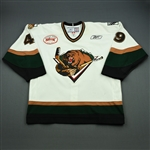 Carpentier, Hugo<br>White Set 1 w/ Inaugural Season at Maverik Center Patch<br>Utah Grizzlies 2010-11<br>#49 Size: 56