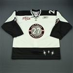 Schiller, Joe<br>White Kelly Cup Finals Game-Issued<br>Las Vegas Wranglers 2011-12<br>#27 Size: 56
