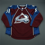Fritsche, Tom<br>Burgundy Set 1 - Game-Issued (GI)<br>Colorado Avalanche 2010-11<br>#51 Size: 56
