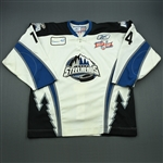 McCutcheon, Mark<br>White Kelly Cup Finals - Game 1 & 2<br>Idaho Steelheads 2009-10<br>#14 Size:56