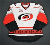 Stillman, Cory * <br>White w/ 10th Anniversary Patch - Photo-Matched<br>Carolina Hurricanes 2007-08<br>#61 Size: 56