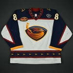 Kaberle, Frantisek * <br>White Set 1 w/ Dan Snyder and Thrashers Fifth Season patches - Photo-Matched<br>Atlanta Thrashers 2003-04<br>#8 Size: 56