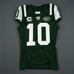 Holmes, Santonio<br>Green, worn Dec. 11, 2011 vs. Kansas City<br>New York Jets 2011<br>#10 Size: 42
