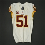 Compton, Will<br>White - worn December 24, 2016 vs. Chicago Bears w/ Captains C<br>Washington Redskins 2016<br>#51 Size: 42 L-BK