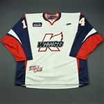 Coutu, Justin<br>White Kelly Cup Finals - Game 3 & 4 - Game-Issued<br>Kalamazoo Wings 2010-11<br>#14 Size: 58