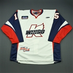 Jurynec, Bryan<br>White Kelly Cup Finals - Game 3 & 4 - Game-Issued<br>Kalamazoo Wings 2010-11<br>#15 Size: 56