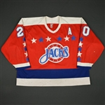 Larter, Tyler * <br>Red w/A<br>Baltimore Skipjacks 1989-90 and/or 1990-91<br>#20 Size: Large