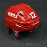 Brunner, Damien<br>Red, Bauer Helmet w/ Shield<br>New Jersey Devils 2013-14
