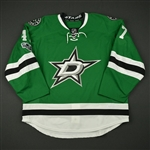 Backman, Mattias<br>Green Set 1 w/ NHL Centennial Patch - Game-Issued (GI)<br>Dallas Stars 2016-17<br>#47 Size: 56