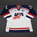 Leetch, Brian * <br>White, World Cup of Hockey, Pre-Tournament Worn, Autographed<br>Team USA 2004<br>#2 Size: 56