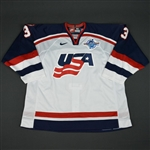 Miller, Aaron * <br>White, World Cup of Hockey, Pre-Tournament Worn, Autographed<br>Team USA 2004<br>#3 Size: 58