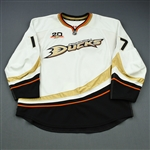 Penner, Dustin * <br>White Set 1 w/20 year patch, Photo-Matched<br>Anaheim Ducks 2013-14<br>#17 Size: 58+