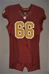 Chester, Chris<br>Burgundy Throwback worn October 14, 2014 vs. Tennessee Titans<br>Washington Redskins 2014<br>#66 Size:46 LINE