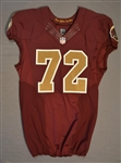 Bowen, Stephen<br>Burgundy Throwback worn October 14, 2014 vs. Tennessee Titans<br>Washington Redskins 2014<br>#72 Size:48 LINE