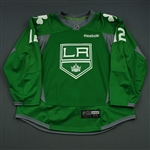 Gaborik, Marian<br>Green, St. Patricks Day Warm-up, March 16, 2015, Autographed<br>Los Angeles Kings 2014-15<br>#12 Size: 56