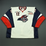 de Gray, John<br>White Set 1 (A removed)<br>Elmira Jackals 2010-11<br>#12 Size: 58