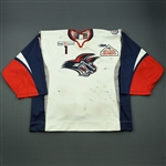 Cheverie, Marc<br>White Set 1<br>Elmira Jackals 2012-13<br>#1 Size: 58G