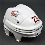 Clarkson, David<br>White, Bauer Helmet, Hockey Fights Cancer Sticker<br>Columbus Blue Jackets 2015-16<br>#23