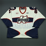 Charlebois, Joe<br>White Set 1 (A removed)<br>Kalamazoo Wings 2012-13<br>#16 Size: 58