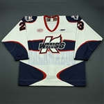 Crichton, Cody<br>White Set 1<br>Kalamazoo Wings 2012-13<br>#23 Size: 56