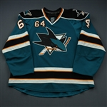 McGinn, Jamie * <br>Teal, Autographed, His 1st NHL Goal, Photo-Matched<br>San Jose Sharks 2008-09<br>#64 Size: 56