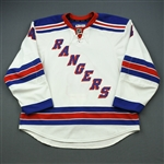 Del Zotto, Michael * <br>White, Worn in Eastern Conference Semifinals at Ottawa<br>New York Rangers 2011-12<br>#4 Size: 56