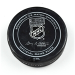Columbus Blue Jackets Game-Used Puck<br>December 31, 2014 vs. Minnesota Wild (Blue Jackets Logo)<br>Columbus Blue Jackets 2014-15