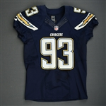 Freeney, Dwight<br>Navy - worn December 14, 2014 vs. Denver Broncos<br>San Diego Chargers 2014<br>#93 Size: 46 SKILL