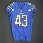 Oliver, Branden<br>Powder Blue - worn December 7, 2014 vs. New England Patriots<br>San Diego Chargers 2014<br>#43 Size: 44 L-BK