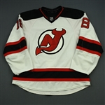 Bernier, Steve<br>White Set 1 nameplate change from Reid Boucher<br>New Jersey Devils 2014-15<br>#18 Size: 56
