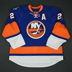 Okposo, Kyle * <br>Blue w/ A - Brooklyn Inaugural Season and Al Arbour Memorial patches<br>New York Islanders 2015-16<br>#21 Size: 58