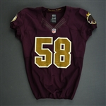 Addison, Mario<br>Burgundy and Gold Throwback worn November 4, 2012 vs. Carolina<br>Washington Redskins 2012<br>#58 Size: 44
