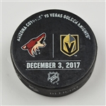 Vegas Golden Knights Warmup Puck<br>December 3, 2017 vs. Arizona Coyotes<br>Vegas Golden Knights 2017-18<br>