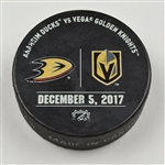 Vegas Golden Knights Warmup Puck<br>December 5, 2017 vs. Anaheim Ducks<br>Vegas Golden Knights 2017-18<br>