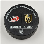Vegas Golden Knights Warmup Puck<br>December 12, 2017 vs. Carolina Hurricanes<br>Vegas Golden Knights 2017-18<br>