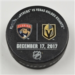 Vegas Golden Knights Warmup Puck<br>December 17, 2017 vs. Florida Panthers<br>Vegas Golden Knights 2017-18<br>