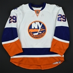Nelson, Brock *<br>White - w/Brooklyn Inaugural Season and AL patches  - Photo-Matched<br>New York Islanders 2015-16<br>#29 Size: 58