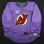 Blank - No Name or Number<br>Lavender Hockey Fights Cancer Warm-Up - CLEARANCE<br>New Jersey Devils <br> Size: 58G