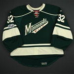 Stalock, Alex *<br>Green Alternate Set 1 w/ Centennial patch - Back-up Only<br>Minnesota Wild 2016-17<br>#32 Size: 58G