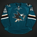 Ward, Joel *<br>Teal - w/ Centennial patch - worn on 4-4-17 - Photo-Matched<br>San Jose Sharks 2016-17<br>#12 Size: 58