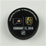 Vegas Golden Knights Warmup Puck<br>February 11, 2018 vs. Philadelphia Flyers<br> 2017-18