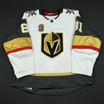 Marchessault, Jonathan * <br>White Stanley Cup Playoffs w/ Inaugural Season Patch - Worn in First Playoff Series in Franchise History<br>Vegas Golden Knights 2017-18<br>#81 Size: 54