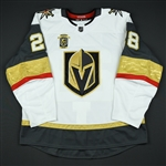 Carrier, William <br>White Set 3 w/ Inaugural Season Patch - Game-Issued (GI)<br>Vegas Golden Knights 2017-18<br>#28 Size: 56